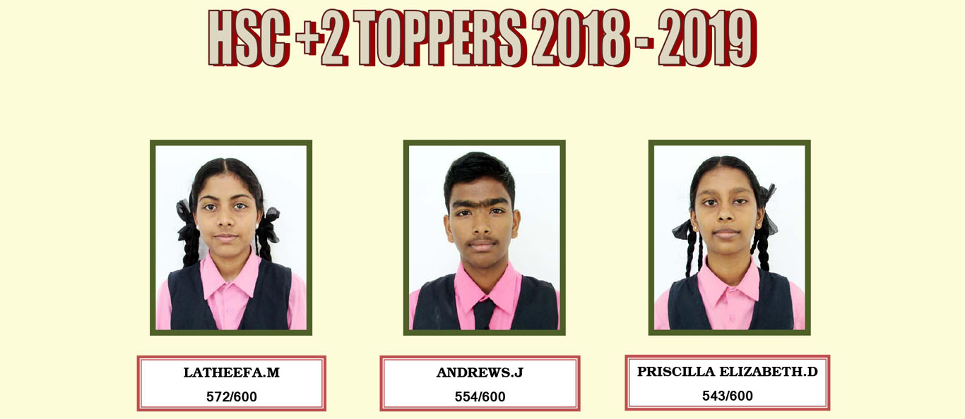 Assisi Matriculation School HSC 12TH TOPPERS 2018-19