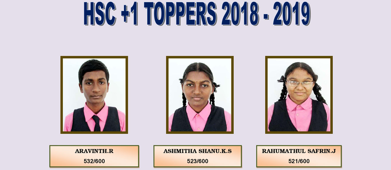Assisi Matriculation School HSC 11TH TOPPERS 2018-19
