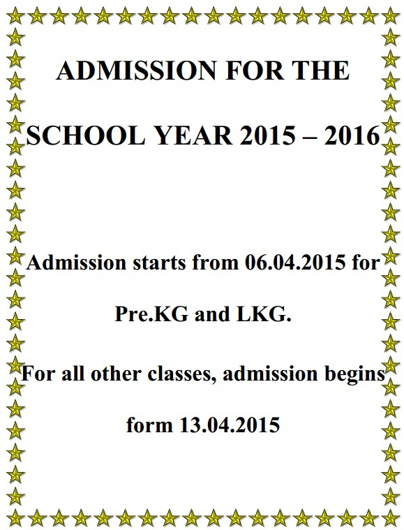 ADMISSION FOR THE SCHOOL YEAR 2015